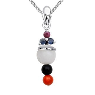 Orchid Jewelry 925 Sterling Silver 7 6/7 Carat Multi Gemstones Pendant Necklace