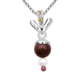 Orchid Jewelry 925 Sterling Silver 7 1/3 Carat Multi Gemstones, Cubic Zirconia and Pearl Pendant Necklace