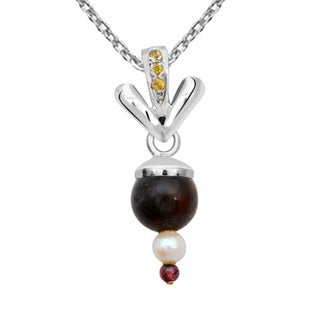 Orchid Jewelry 925 Sterling Silver 7 3/8 Carat Multi Gemstones and Freshwater Pearl Pendant Necklace