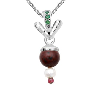 Orchid Jewelry 925 Sterling Silver 7 4/7 Carat Multi Gemstones and Freshwater Pearl Pendant Necklace