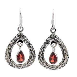 Sterling Silver Garnet Dangle Hoop Earrings