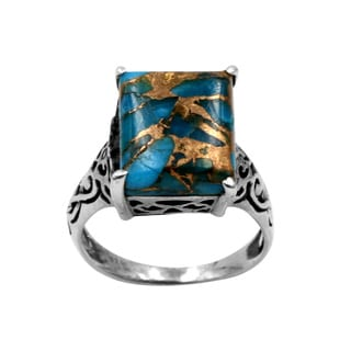 Sterling Silver intricate design with Blue Copper Turquois Ring