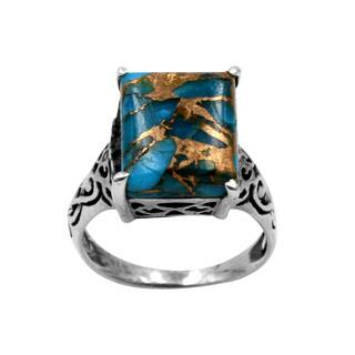 sterling silver intricate design with blue copper turquois ring - Turquoise Wedding Ring
