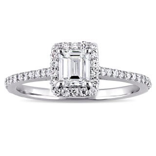 Miadora Signature Collection 14k White Gold 3/4ct TDW Emerald and Round-Cut Diamond Halo Engagement Ring (G-H, I1-I2)