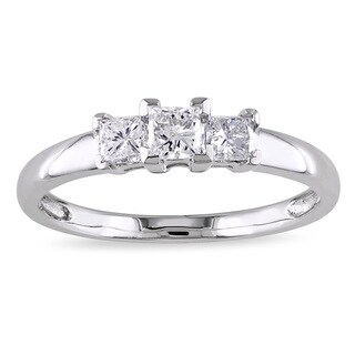 Miadora Signature Collection 14k White Gold 1/2ct TDW Princess-Cut Diamond Three-Stone Engagement Ring (G-H, I2-I3)