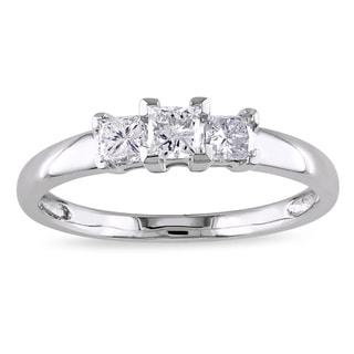 Miadora Signature Collection 14k White Gold 1/2ct TDW Princess-Cut Diamond Three-Stone Engagement Ring (G-H, I2-I3)