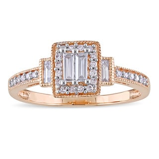 Miadora Signature Collection 10k Rose Gold 1/3ct TDW Parallel Baguette Round-Cut Diamond Halo Engagement Ring (G-H,I1-I2)