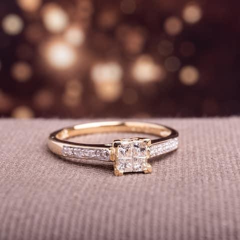 Miadora Signature Collection 10k Yellow Gold 1/4ct TDW Diamond Engagement Ring - White
