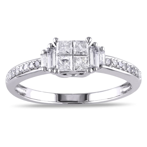 Miadora Signature Collection 10k White Gold 1/2ct TDW Multi-Cut Diamond Quad Center Engagement Ring (G-H, I2-I3)