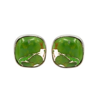 Sterling Silver Green Copper Turquoise Stud Earring