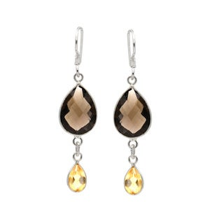 Sterling Silver Smokey Quartz and Citrine Dangle Earrings