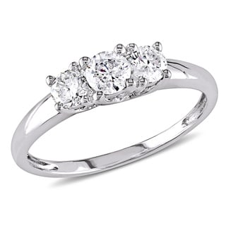 Miadora Signature Collection 14k White Gold 1/2ct TDW Certified Diamond Three-Stone Engagement Ring (G-H, I2-I3)(IGL)