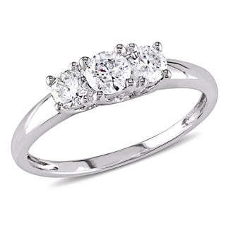 Miadora Signature Collection 14k White Gold 1/2ct TDW Certified Diamond Three-Stone Engagement Ring