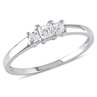 Miadora Signature Collection 10k White Gold 1/4ct TDW Princess Cut Diamond Three-Stone Engagement Ri