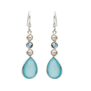 Sterling Silver Aqua Chalcedony earring with Topaz and Pearl accents