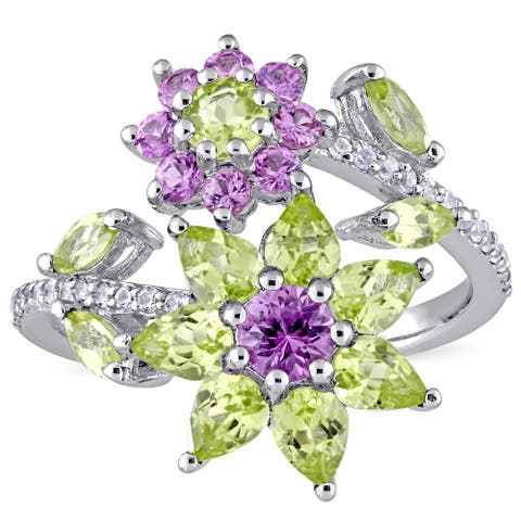 Laura Ashley Peridot Pink and White Sapphire Three Flower Bypass Ring in Sterling Silver