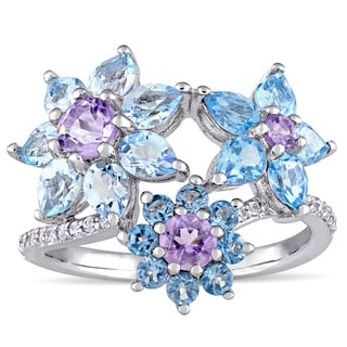 Laura Ashley Swiss London and Sky Blue Topaz Rose De France and White Sapphire Three Flower Ring in Sterling Silver
