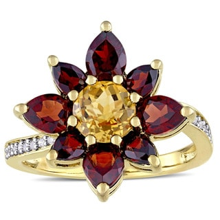 Laura Ashley Garnet And Citrine With 1 10ct TDW Diamond Flower Ring In Yellow Plated Sterling Silver