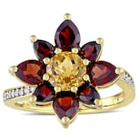 Laura Ashley Garnet and Citrine with 1/10ct TDW Diamond Flower Ring in Yellow Plated Sterling Silver
