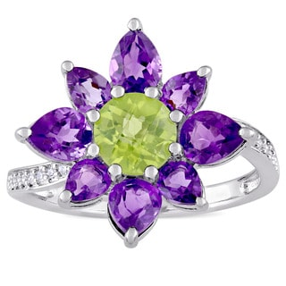Laura Ashley African-Amethyst Peridot and 1/10ct TDW Diamond Flower Ring in Sterling Silver (G-H,I1-I2)