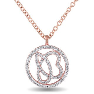 Miadora Signature Collection 14k Rose Gold 1/3ct TDW Diamond Abstract Design Round Halo Necklace
