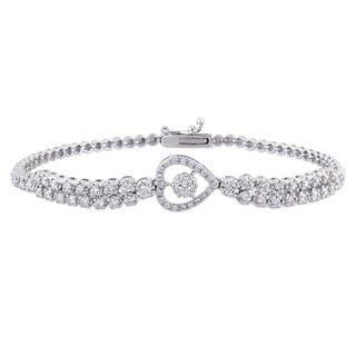 Miadora Signature Collection 18k White Gold 1 1/6ct TDW Diamond Stationed Heart Tennis Bracelet