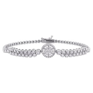 Miadora Signature Collection 18k White Gold 1 1/3ct TDW Diamond Station Beaded Cuff Bracelet