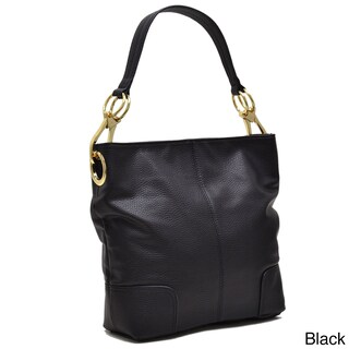 Dasein Classic Faux Leather Large Corner Patched Hobo Handbag (Option: Black)