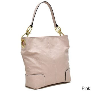 Dasein Classic Faux Leather Large Corner Patched Hobo Handbag (Option: Pink)