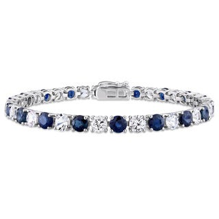 Miadora Signature Collection 14k White Gold Blue and White Sapphire Tennis Bracelet