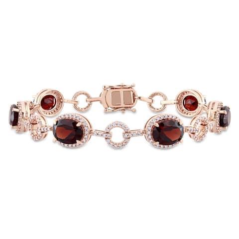 Miadora Signature Collection 14k White Gold Garnet and 1 1/2ct TDW Diamond Beaded Tennis Bracelet (G-H, SI1-SI2)