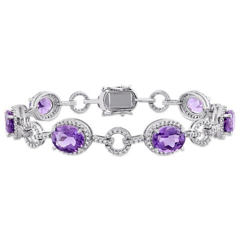 Miadora Signature Collection 14k White Gold Amethyst and 1 1/2ct TDW Diamond Beaded Tennis Bracelet (G-H, SI1-SI2)
