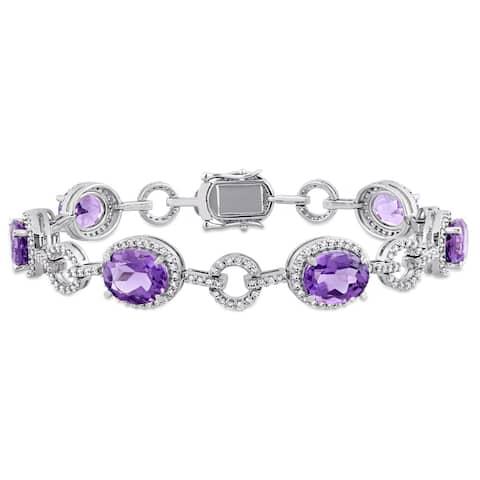 Miadora Signature Collection 14k White Gold Amethyst and 1 1/2ct TDW Diamond Beaded Tennis Bracelet (G-H, SI1-SI2) - Purple