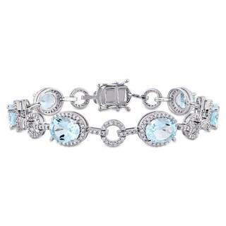 Miadora Signature Collection 14k White Gold Sky-Blue Topaz and 1 1/2ct TDW Diamond Beaded Tennis Bracelet (G-H, SI1-SI2)
