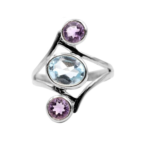 Sterling Silver Three Stone Blue Topaz and Amethyst Ring