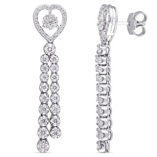 Miadora Signature Collection 18k White Gold 1 2/5ct TDW Diamond Heart Dangle Earrings