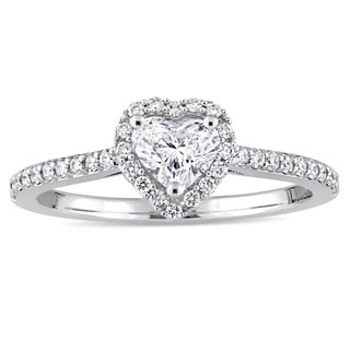 Miadora Signature Collection 14k White Gold 3/4ct TDW Heart and Round-Cut Diamond Halo Engagement Ring (G-H, I1-I2)