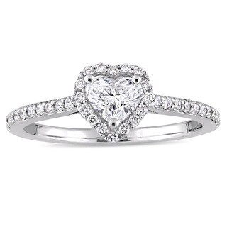 Miadora Signature Collection 14k White Gold 3/4ct TDW Heart and Round-cut Diamond Halo Engagement Ring