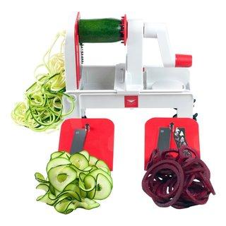 Paderno World Cuisine A4982802 Red Folding Tri-blade Spiralizer