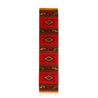 Handmade Four Diamonds Zapotec Wool Rug (Mexico) - 1.3' x 6.5'