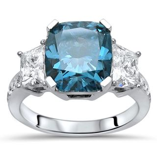 Certified Noori 18k White Gold 4 2/5ct TDW Blue and White Diamond Engagement Ring