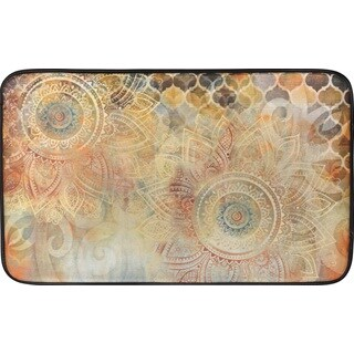Designer Chef Series Boho Study Floral Oversized 24-inch x 36-inch Anti-fatigue Kitchen Mat