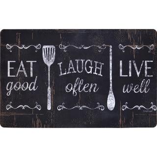 Designer Chef Series Eat Laugh Live 24-inch x 36-inch Oversized Antifatigue Kitchen Mats - multi