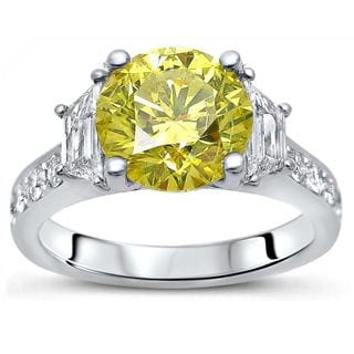 Certified Noori 18k White Gold 2 4/5ct TDW Yellow and White Diamond Engagement Ring (G-H, SI1-SI2)