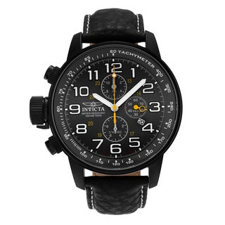 Invicta Men's ILE3332A 'I-Force' Black-plated Stainless Steel Chronograph Dial Genuine Leather Strap Watch