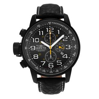 Invicta Men's ILE3332A 'I-Force' Black-plated Stainless Steel Chronograph Dial Genuine Leather Strap Watch|https://ak1.ostkcdn.com/images/products/14532182/P21085170.jpg?impolicy=medium