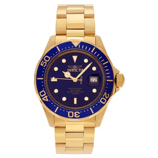 Invicta Men's 9312 'Pro Diver' Goldtone Stainless Steel Blue Dial Link Bracelet Watch