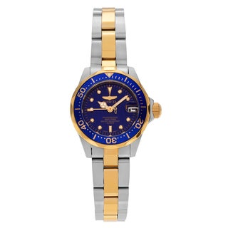 Invicta Women's 'Pro Diver' 8942 Two Tone Stainless Steel Blue Dial Link Bracelet Watch