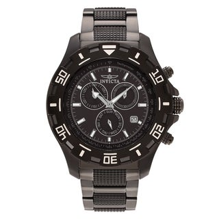 Invicta Men's 'Specialty' 6412 Gunmetal Tone Stainless Steel Chronograph Dial Link Bracelet Watch