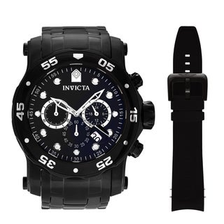 Invicta Men's 'Pro Diver' 23654 Black-plated Stainless Steel Chronograph Dial Bracelet and Strap Watch Set